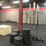 Plenty of bumper plates for olympic lifting